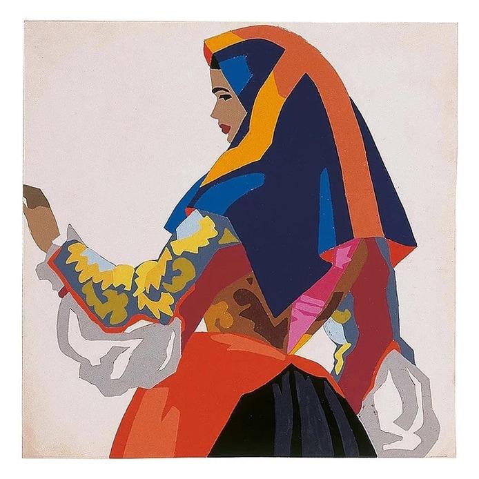 Edina Altara, ``Donna di Ploaghe``, ceramica dipinta a freddo, anni '40